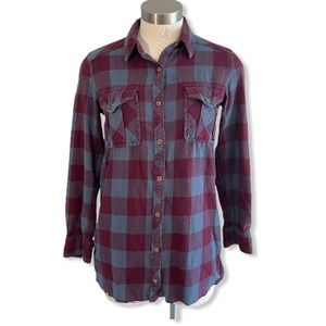 Wilfred Free Shirt Shacket Plaid Flannel Button Up